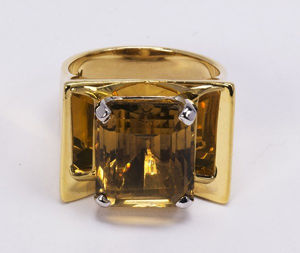 Citrine and 14k yellow gold ring - 4