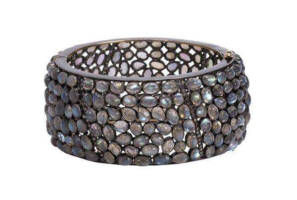 Labradorite diamond silver bangle bracelet