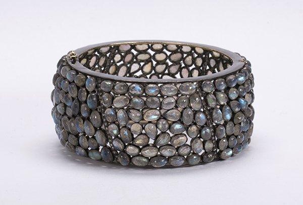 Labradorite diamond silver bangle bracelet - 2