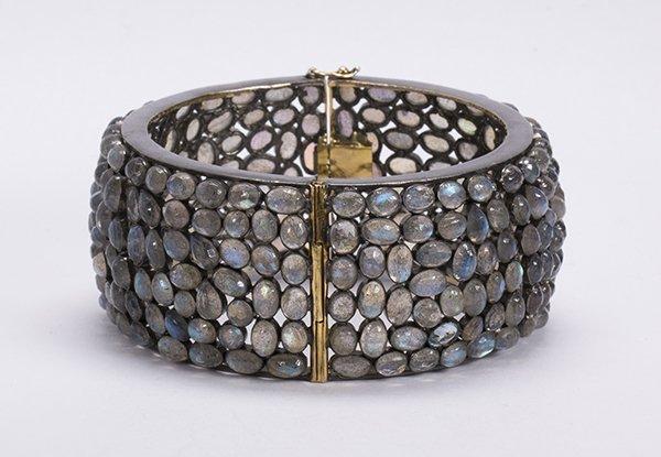 Labradorite diamond silver bangle bracelet - 3