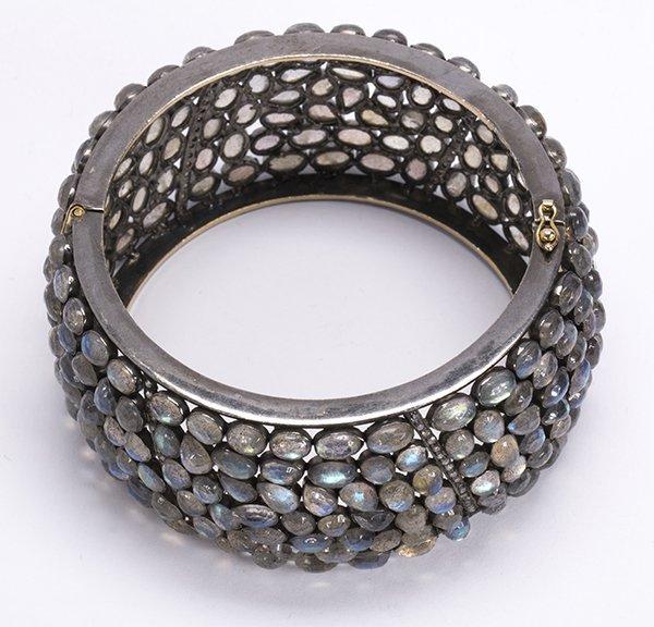 Labradorite diamond silver bangle bracelet - 4