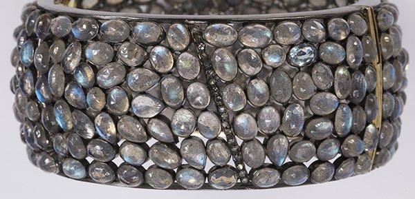 Labradorite diamond silver bangle bracelet - 5
