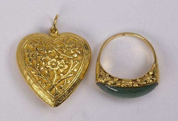 (Lot of 2) Jade and yellow gold jewelry