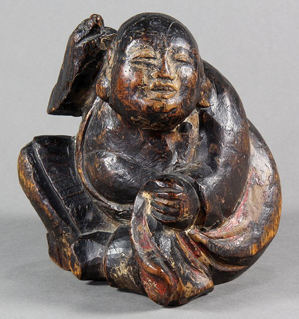 Japanese Lacquered Wooden Carving of Hotei, 18c