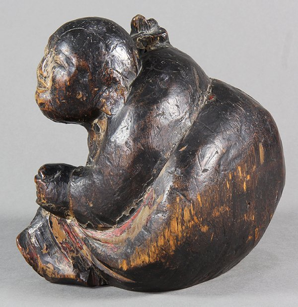 Japanese Lacquered Wooden Carving of Hotei, 18c - 4