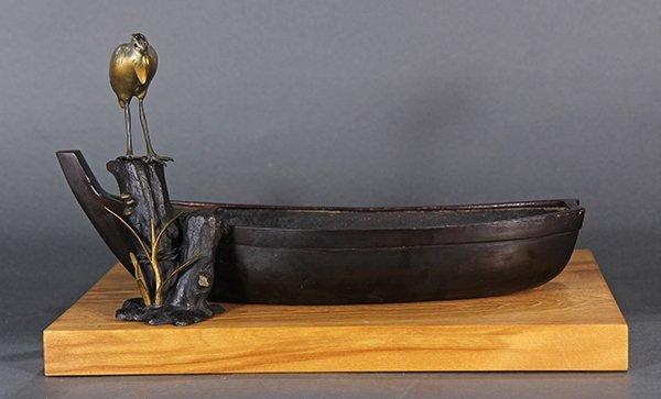 Japanese Bronze Okimono, Boat and Egret