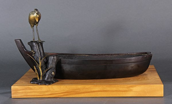 Japanese Bronze Okimono, Boat and Egret
