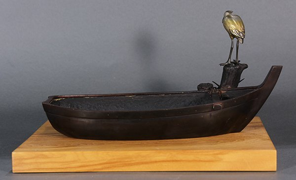 Japanese Bronze Okimono, Boat and Egret - 2