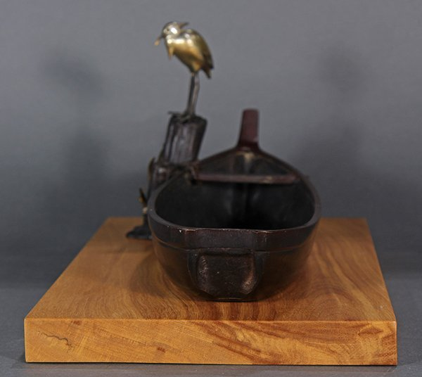 Japanese Bronze Okimono, Boat and Egret - 3
