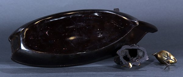 Japanese Bronze Okimono, Boat and Egret - 6