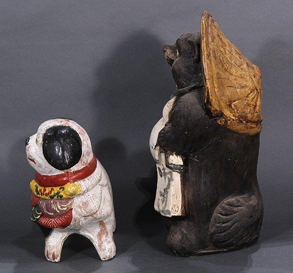 Japanese Okimono, Inu-hariko Edo period, Tanuki, Censor - 4