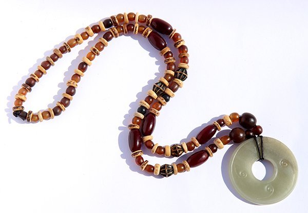 Chinese Jade Bi-disc and Necklace