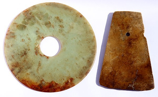 Two Chinese Archaistic Jade Bi-disc and Ax
