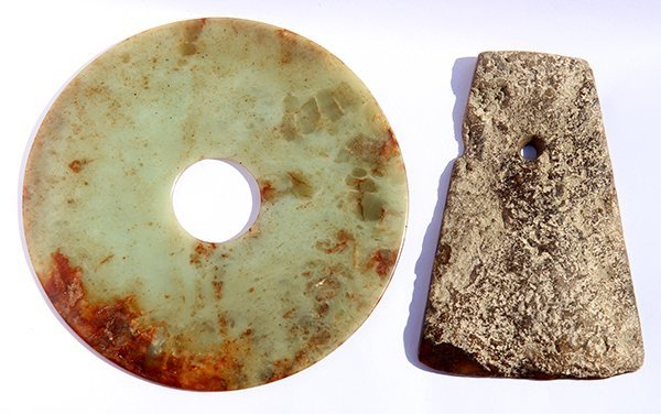 Two Chinese Archaistic Jade Bi-disc and Ax - 2