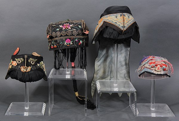Four Chinese Embroidered Hats