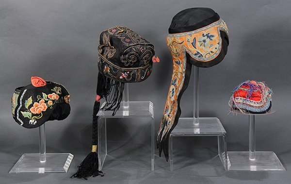 Four Chinese Embroidered Hats - 2