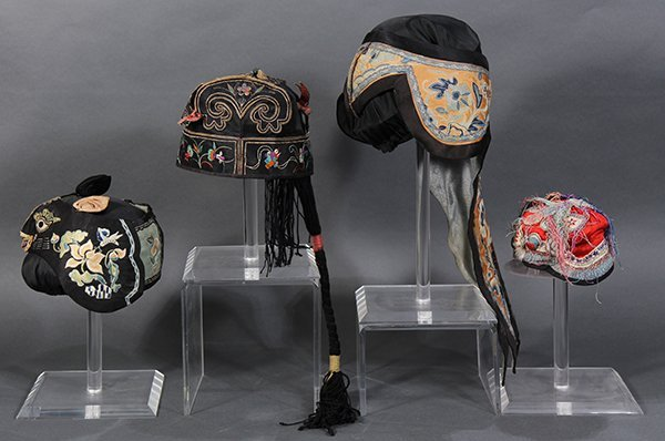 Four Chinese Embroidered Hats - 4
