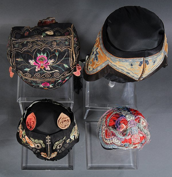 Four Chinese Embroidered Hats - 6