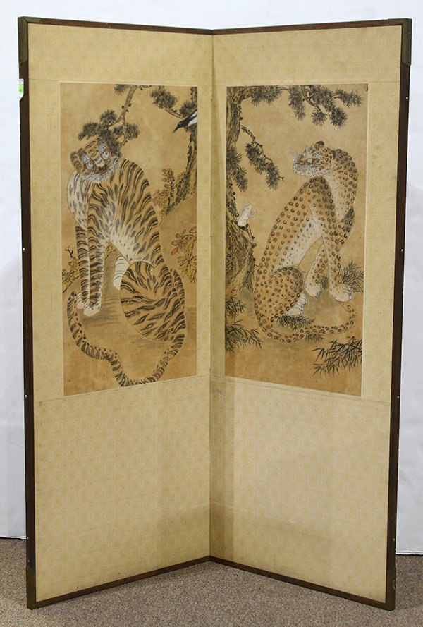 Korean Two Panel Screen Tiger and Leopard