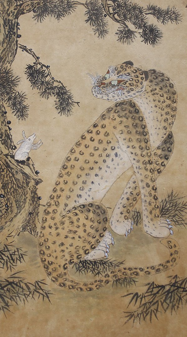 Korean Two Panel Screen Tiger and Leopard - 4