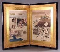 Japanese Table-top Screen with Woodblock Prints