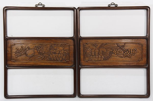 Two Chinese Wooden Panels