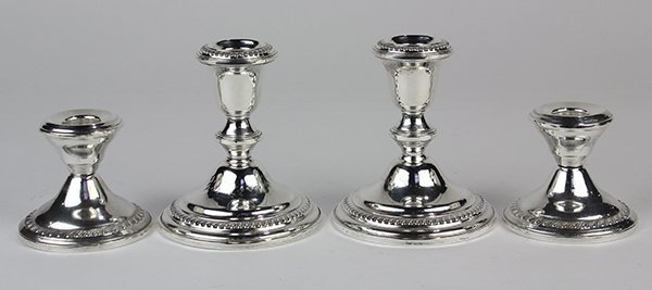 (lot of 4) American weighted sterling silver gadroon