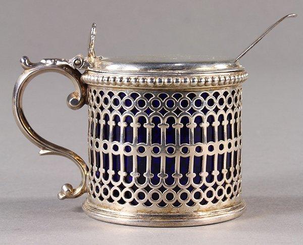 (lot of 2) English sterling silver pierced mustard pot