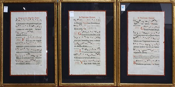 (Lot of 3) Framed antiphonal pages in Latin with