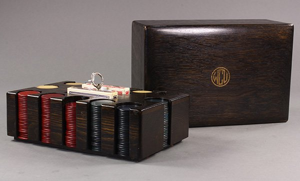 Poker set, the wenge wood box with a monogrammed lid - 2