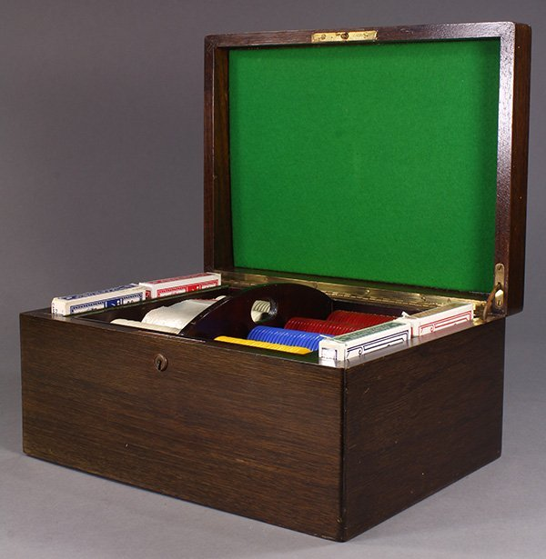 Poker set, the wood box with a monogrammed lid opening