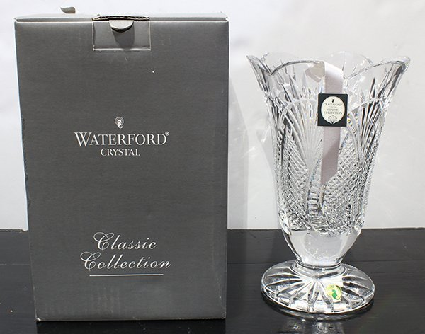 "Waterford crystal vase, in the ""Seahorse"" pattern,"
