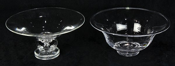 (Lot of 2) Simon Pearce and Stueben clear glass