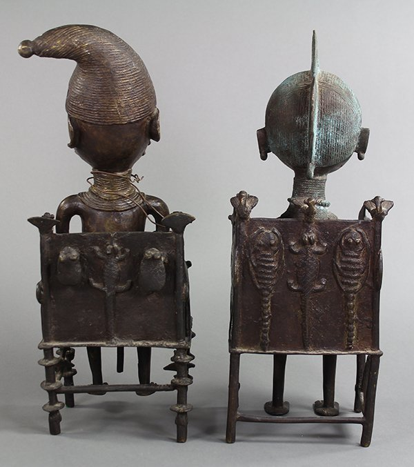Pair of Yoruba metal figures, female and male, each - 2