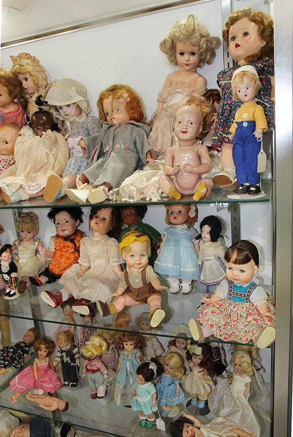 (Lot of 90+) Four shelf doll group, consisting of - 3
