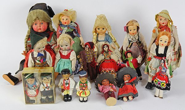 (lot of 17) International doll group including cloth,