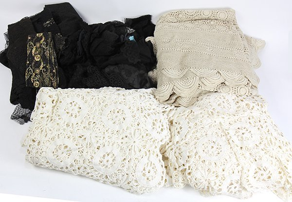 (lot of 6) Four vintage crocheted coverlets; together