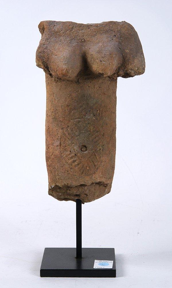 Pre Columbian style terra cotta torso, depicting a