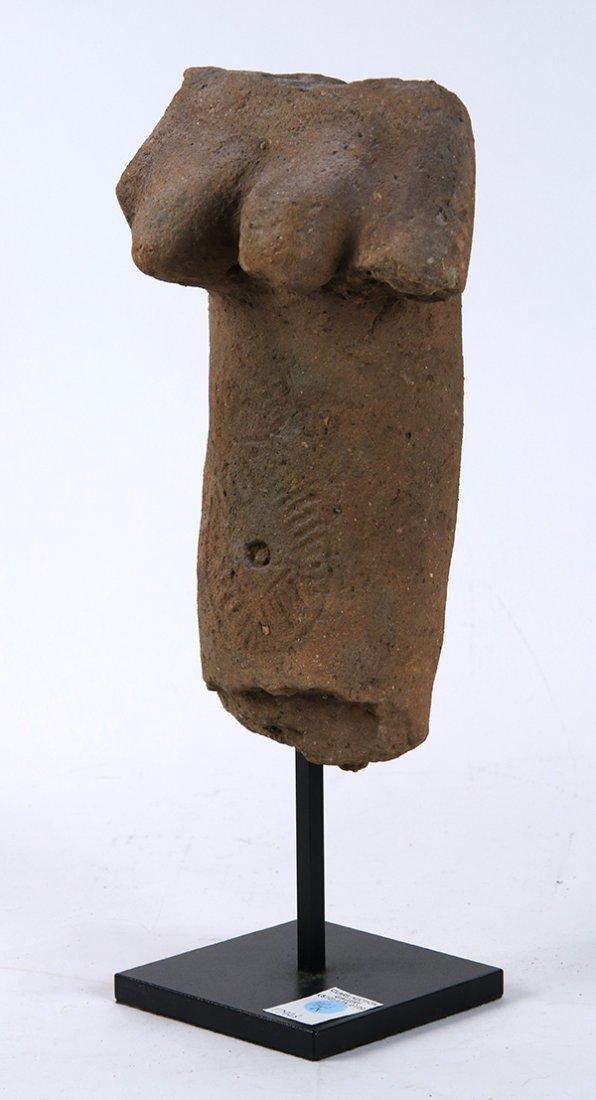 Pre Columbian style terra cotta torso, depicting a - 2