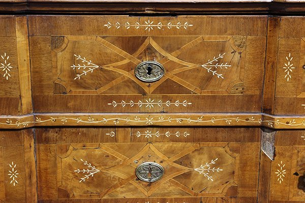 German Baroque walnut and mixed hardwood marquetry - 5