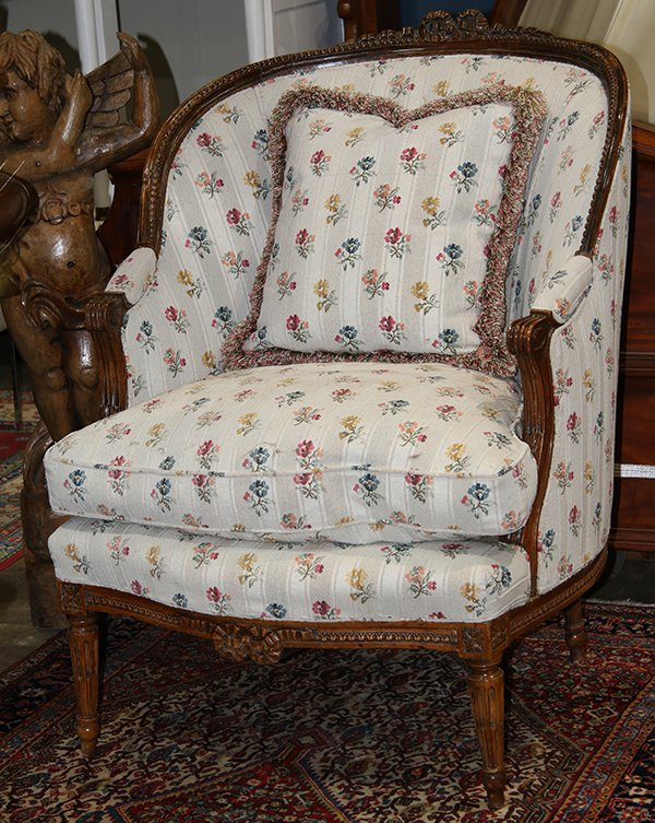 Louis XVI style carved wood framed bergere, having a
