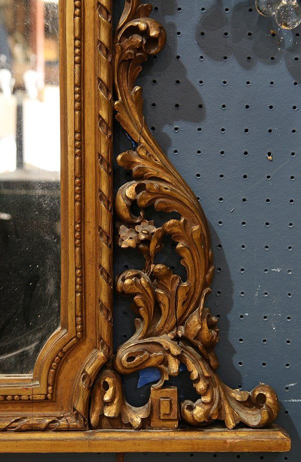 Neoclassical style gilt hall mirror, having scrolled - 2