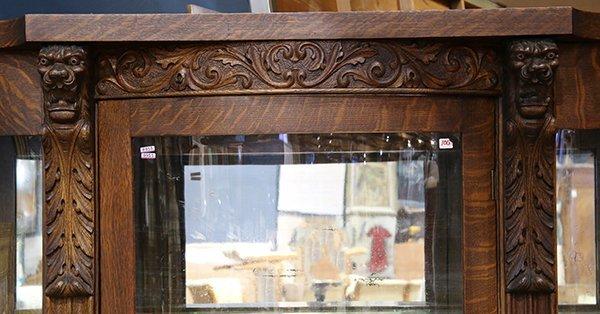 American Victorian quartersawn oak vitrine, having a - 2