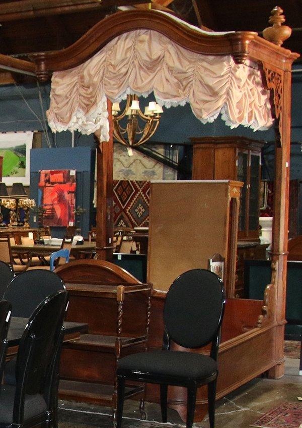 Victorian Rococo Revival mahogany half tester bed