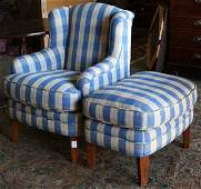 Upholstered club chair with matching ottoman, each