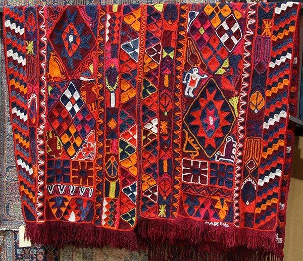 Crewel work woven textile