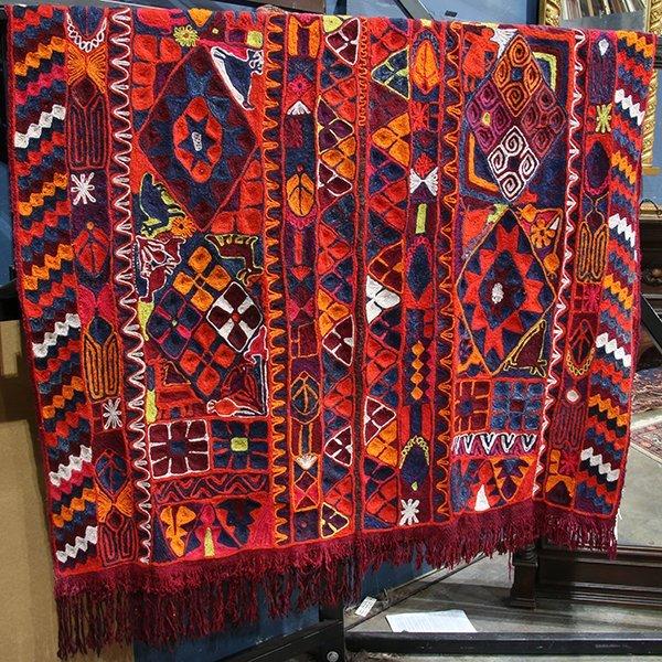 Crewel work woven textile - 2
