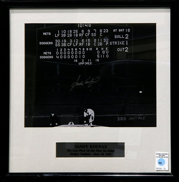 Framed Sandy Koufax signed photograph comemmorating The