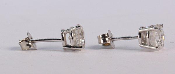 Pair of diamond and 14k white gold stud earrings - 2