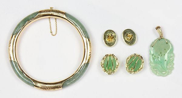 (Lot of 4) Jade and yellow gold jewelry - 2
